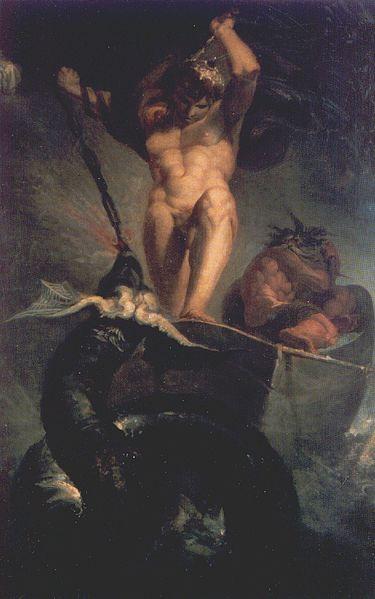 Tor luchando con la Serpiente Midgard